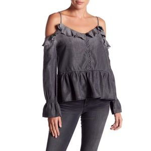 William Rast Ruffle Cold Shoulder Cut out Top